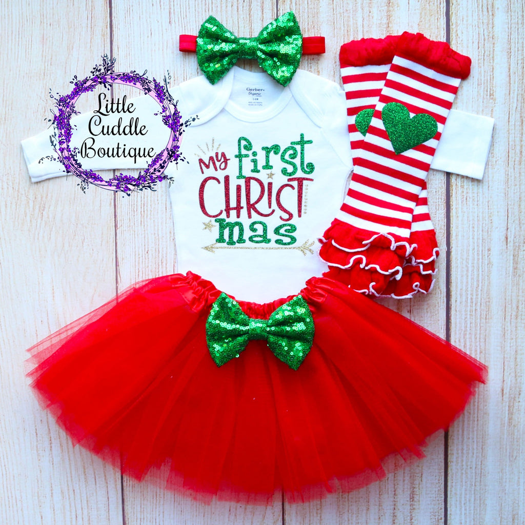 My First Christmas Baby Tutu Outfit