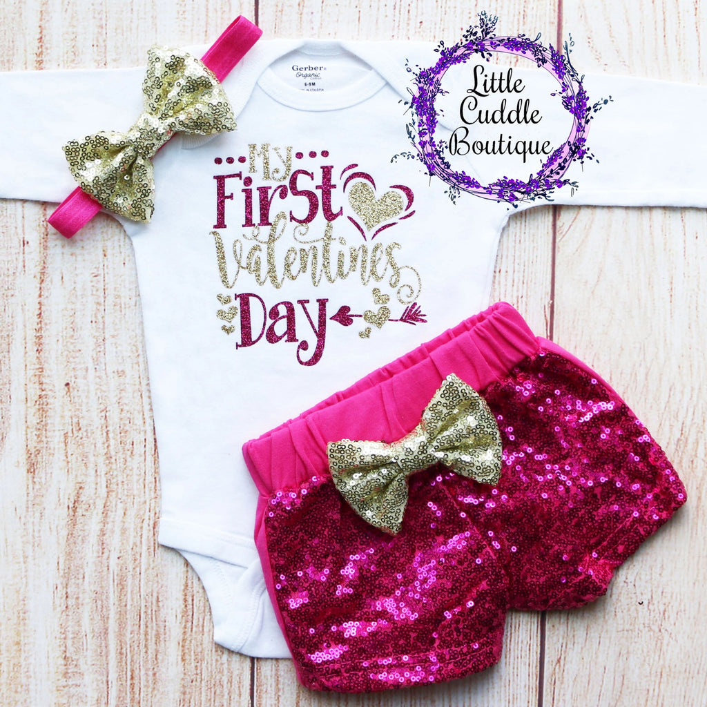 My First Valentines Shorts Outfit