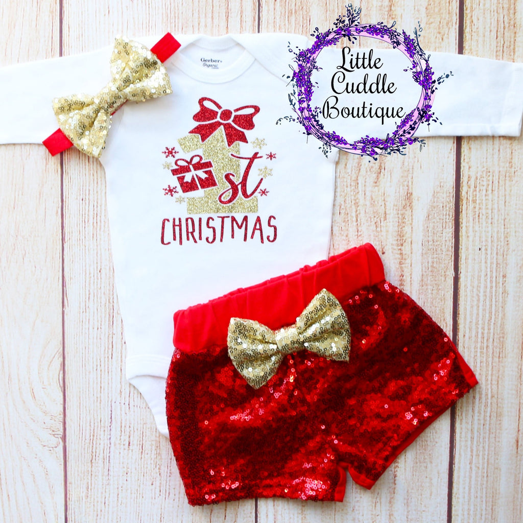 First Christmas Baby Shorts Outfit