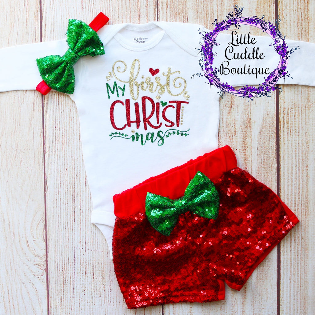 My First Christmas Baby Shorts Outfit