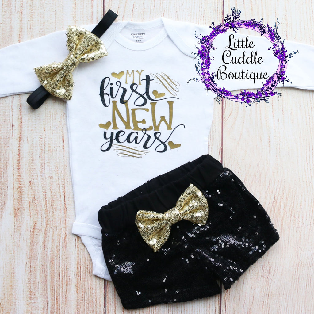 My First New Year's Baby Shorts Outfit