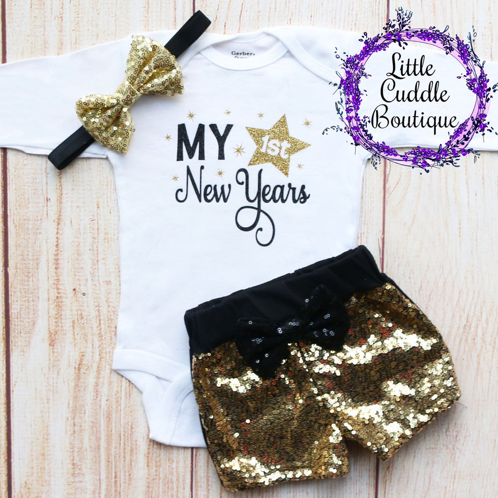First New Year's Baby Shorts Outfit