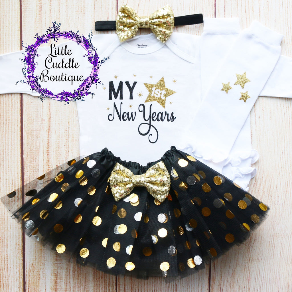 My First New Year's Baby Tutu Outfit