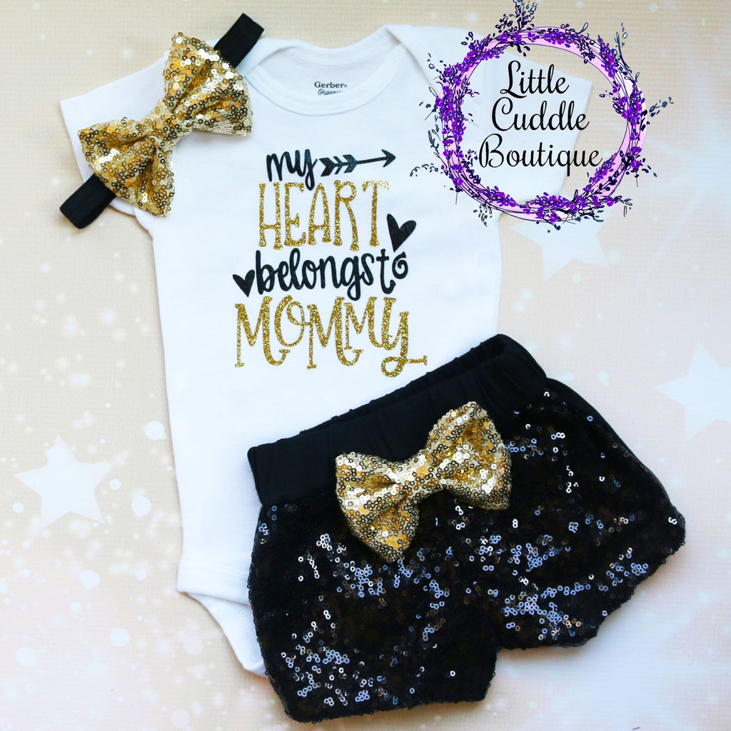 My Heart Belongs To Mommy Baby Shorts Outfit