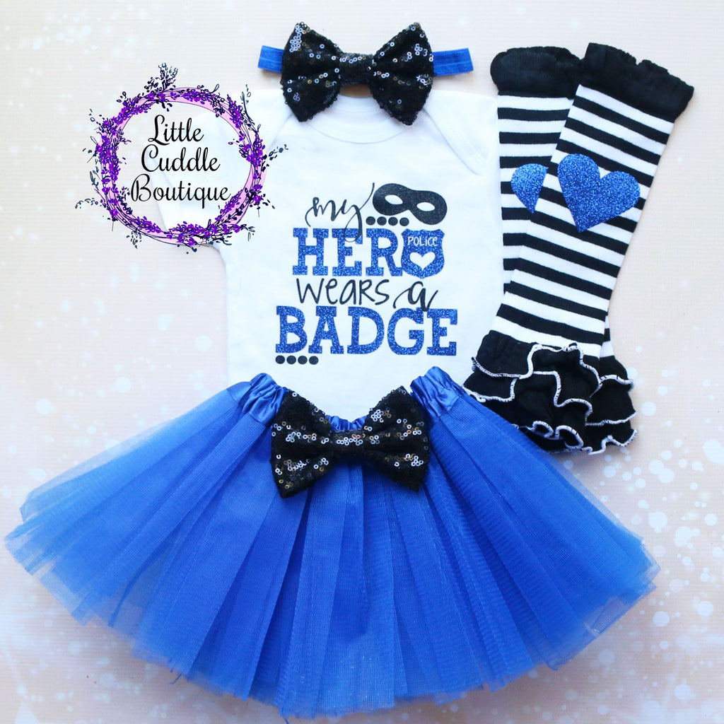My Hero Wears A Badge Baby Tutu Outfit