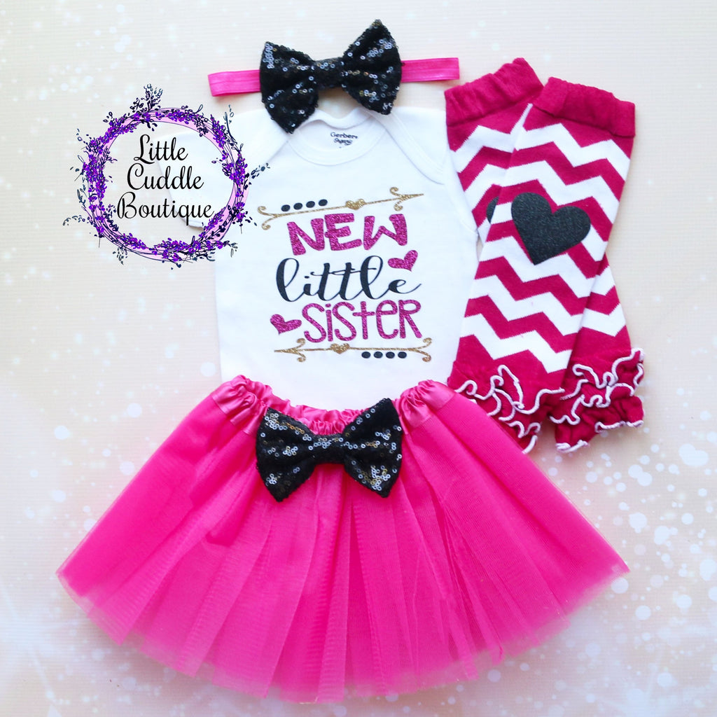 New Little Sister Baby Tutu Outfit