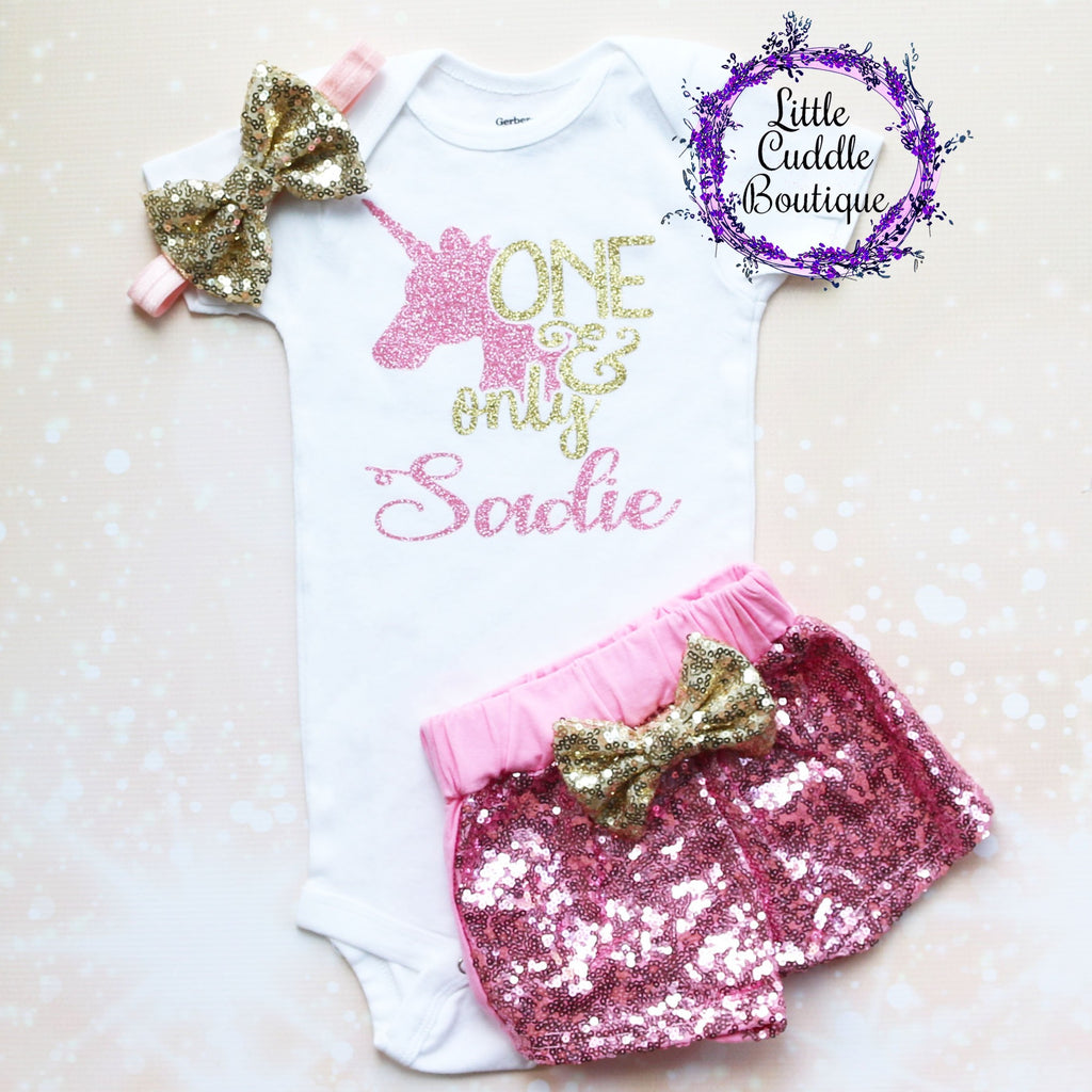 Personalized Unicorn 1st Birthday Shorts Outfit