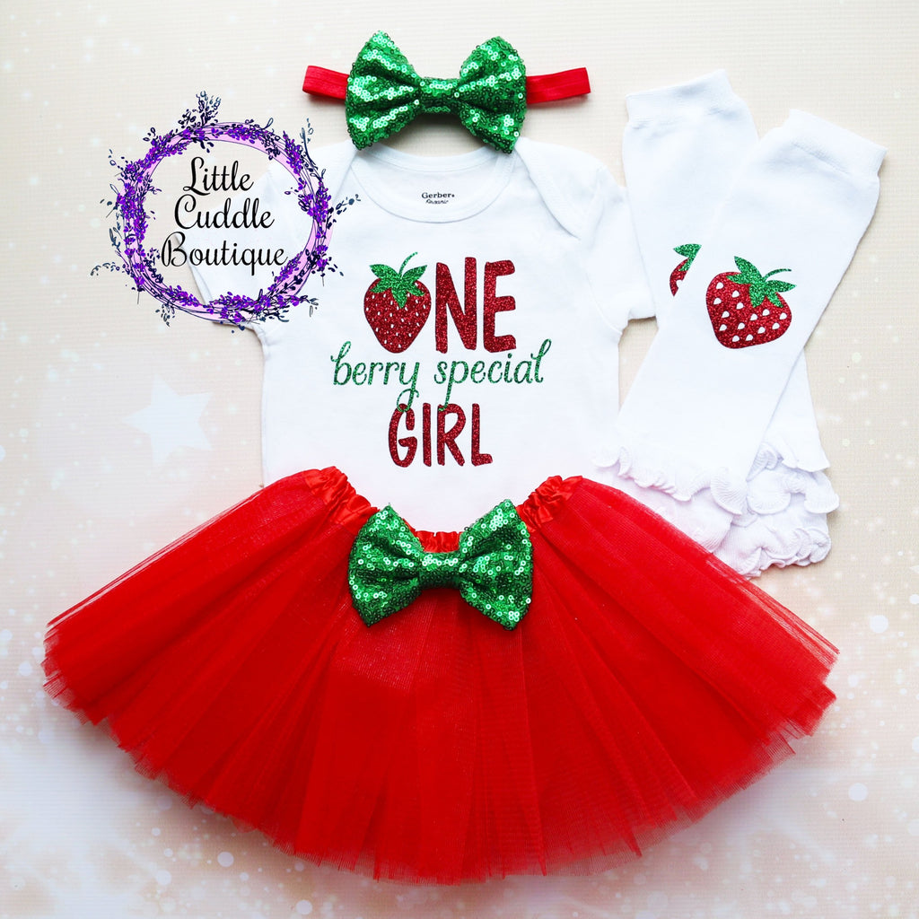 Strawberry First Birthday Tutu Outfit