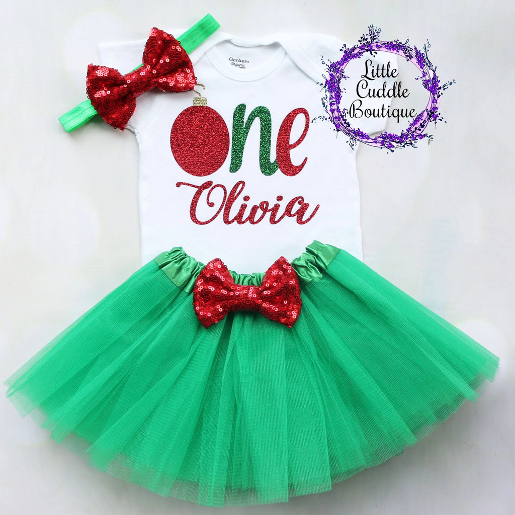 Personalized Christmas First Birthday Tutu Outfit