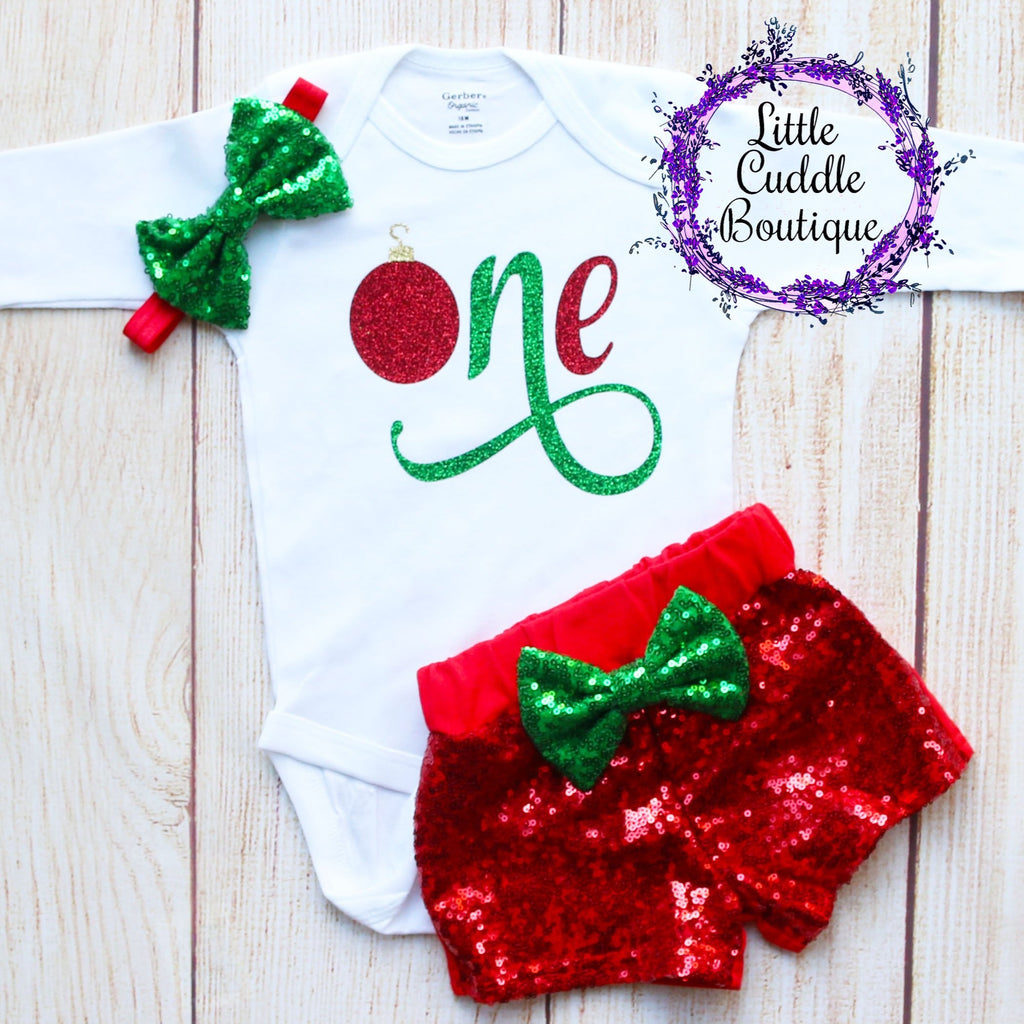 Christmas First Birthday Shorts Outfit