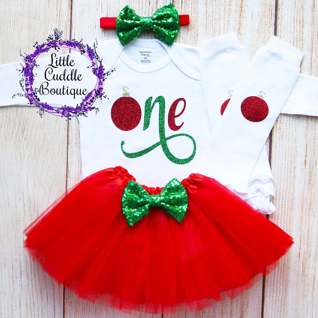 Christmas First Birthday Baby Tutu Outfit