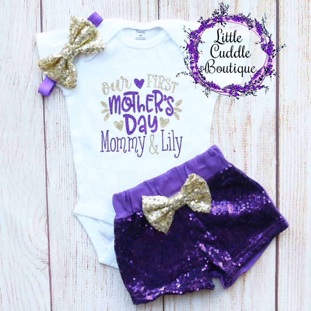 Our First Mother's Day Personalized Shorts Outfit