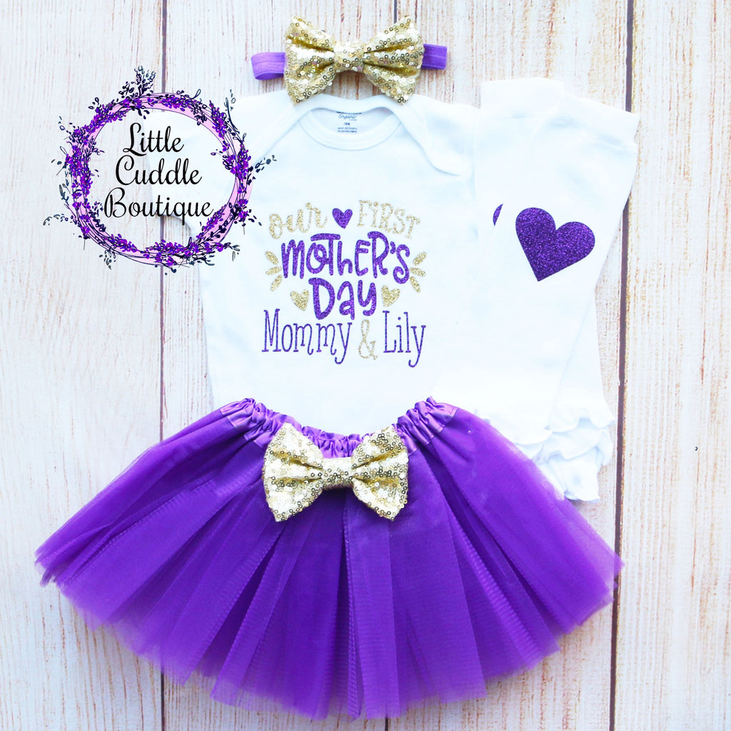 Our First Mother's Day Personalized Tutu Outfit