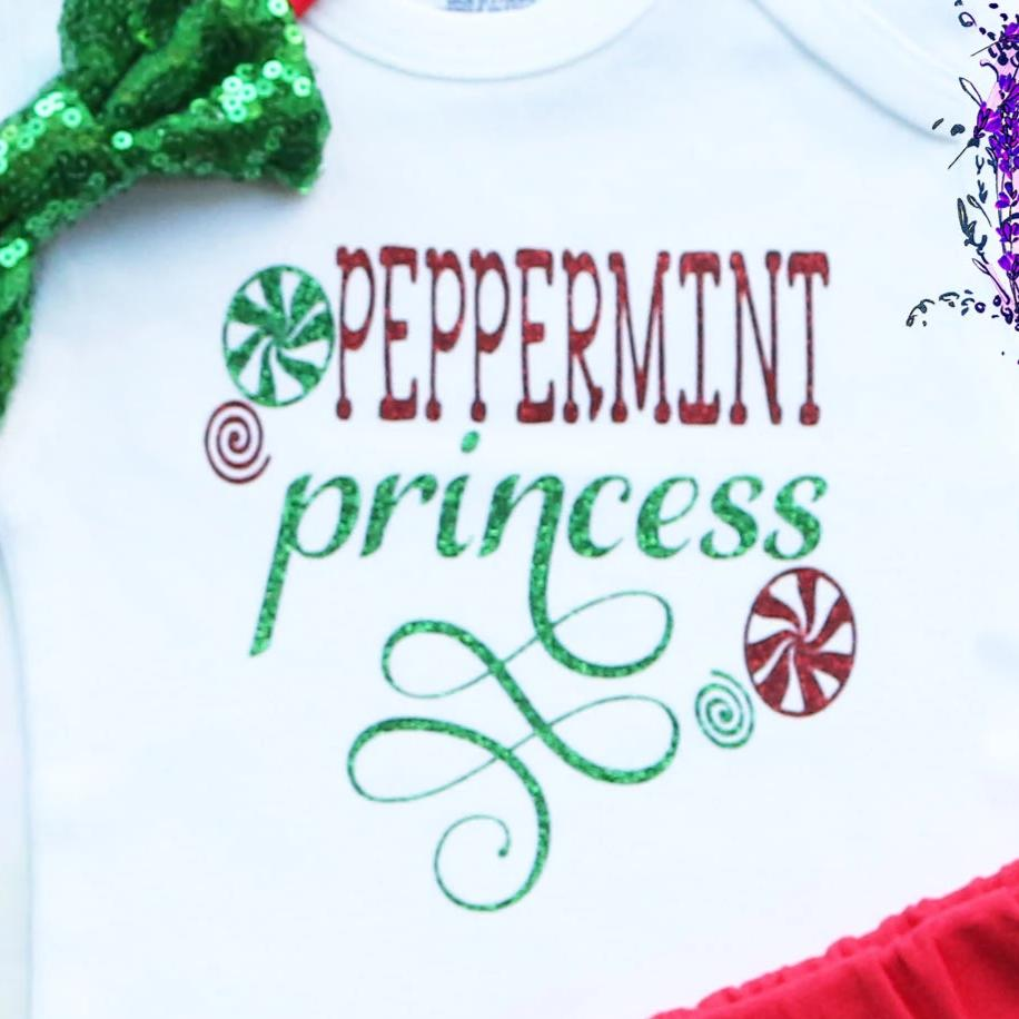 Peppermint Princess Baby Shorts Outfit