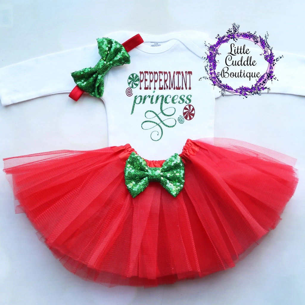 Peppermint Princess Christmas Baby Outfit