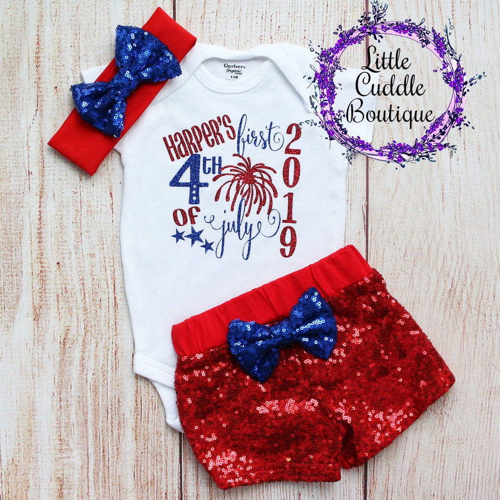 Personalized First 4th of July Shorts Outfit