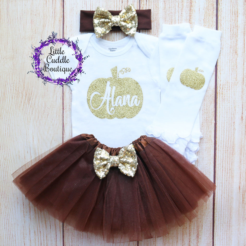 Personalized Thanksgiving Pumpkin Baby Outfit