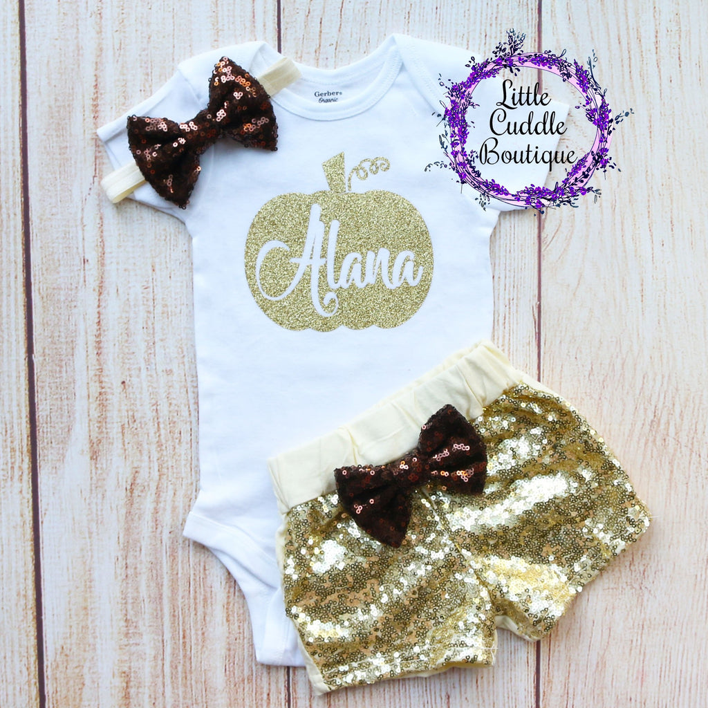 Personalized Pumpkin Thanksgiving Baby Short Outfit