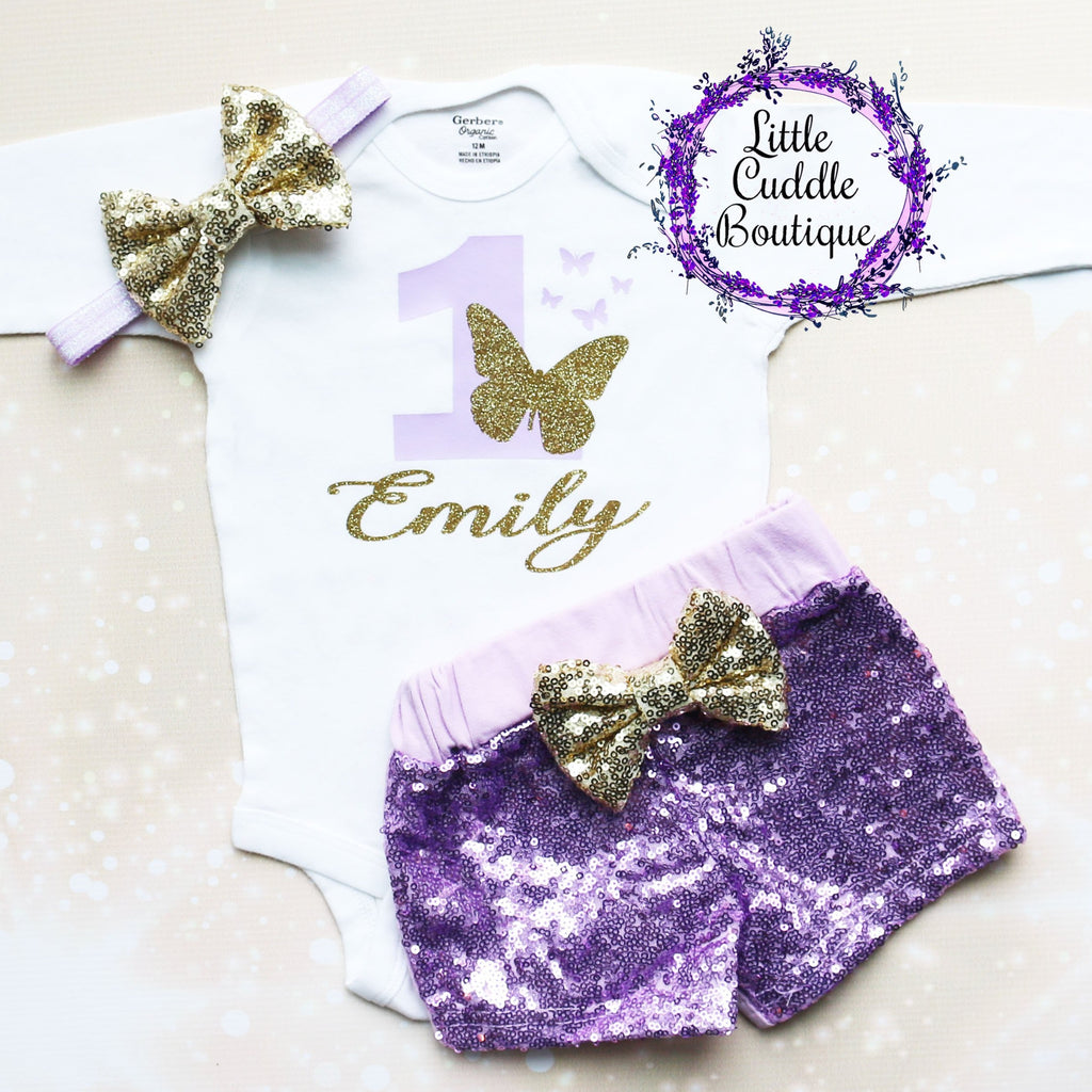 Personalized Butterfly First Birthday Shorts Outfit