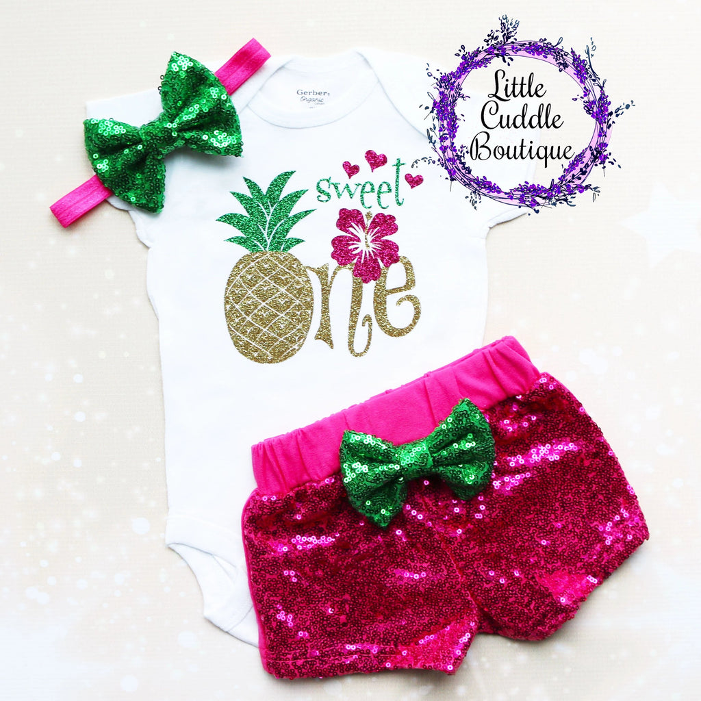 Sweet One Pineapple Birthday Shorts Outfit