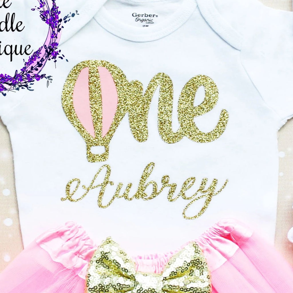 Personalized Hot Air Balloon First Birthday Tutu Outfit