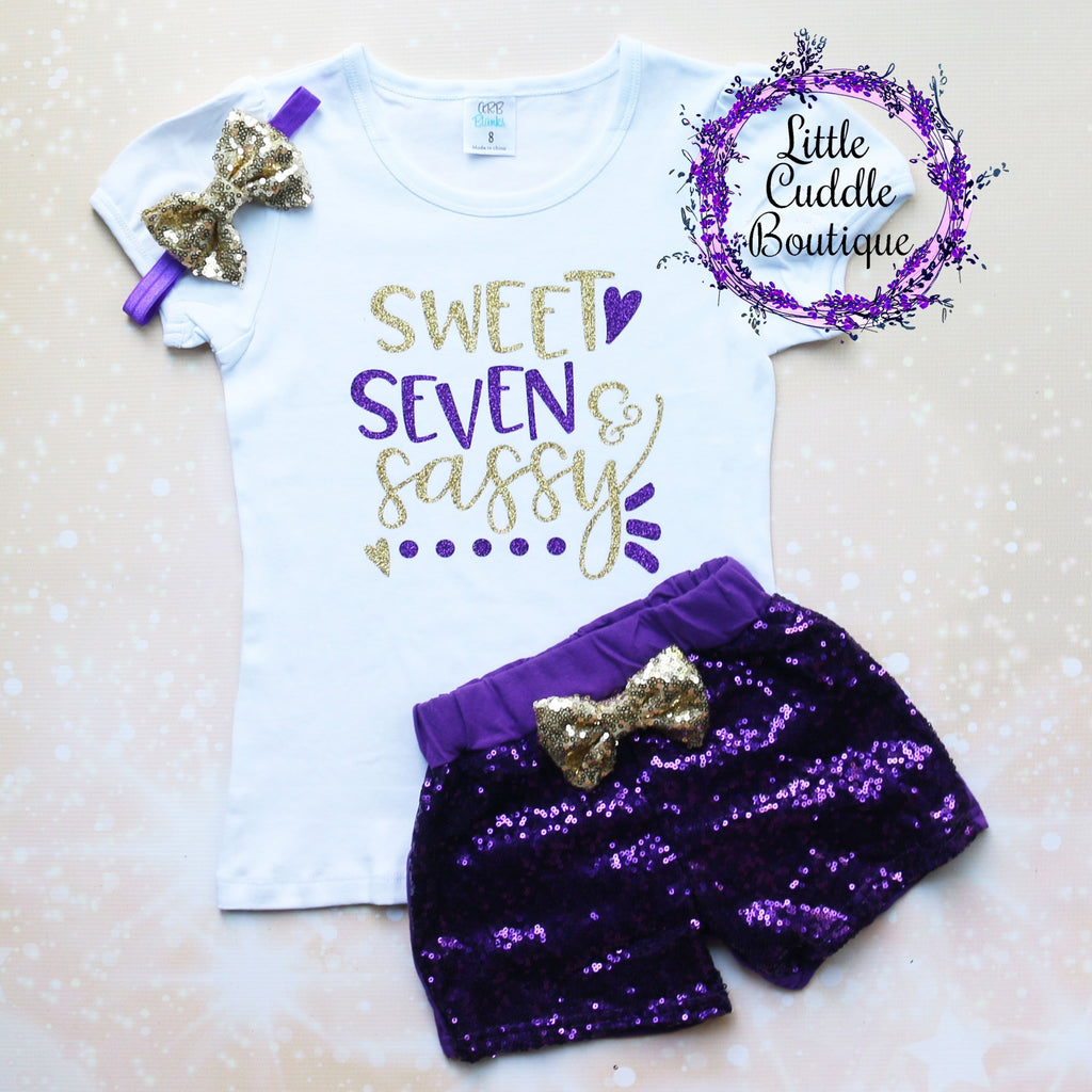 Sweet Seven & Sassy Birthday Shorts Outfit