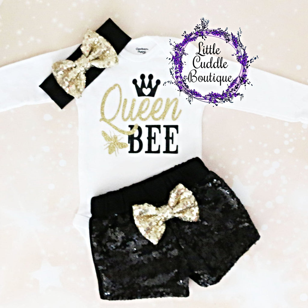 Queen Bee Baby Shorts Outfit