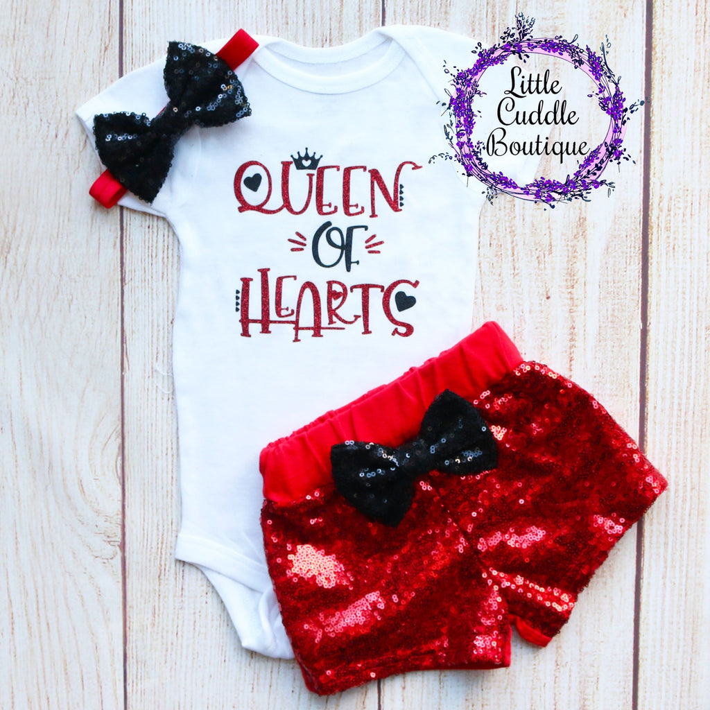 Queen Of Hearts Baby Shorts Outfit
