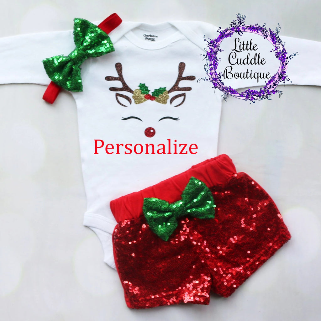 Personalized Reindeer Christmas Baby Shorts Outfit