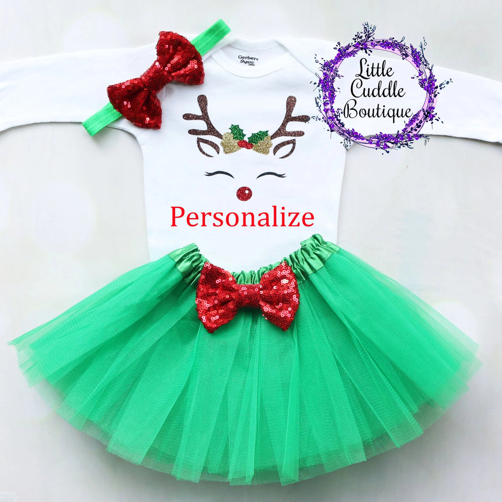 Personalized Reindeer Christmas Baby Tutu Outfit