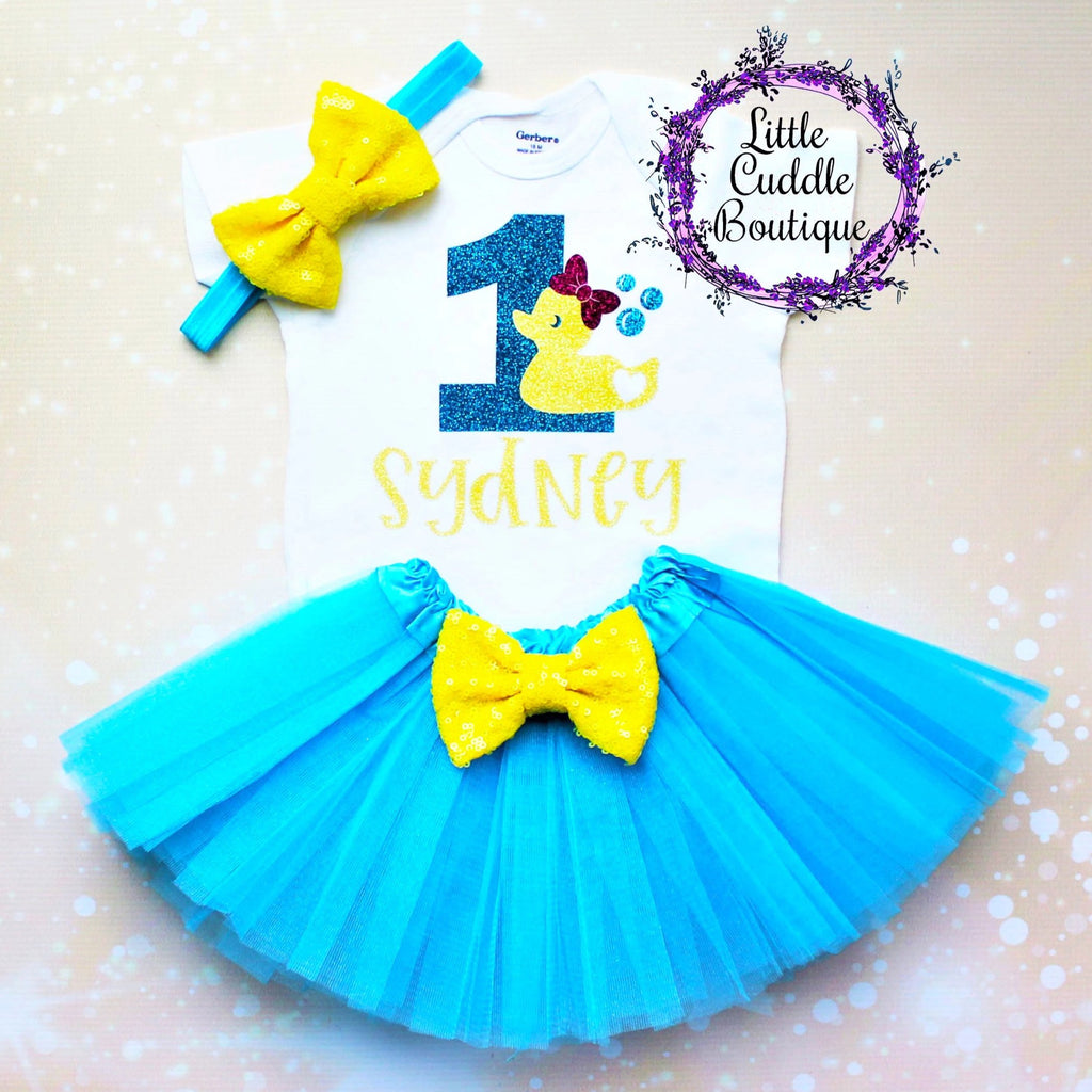 Personalized Rubber Ducky Birthday Tutu Outfit