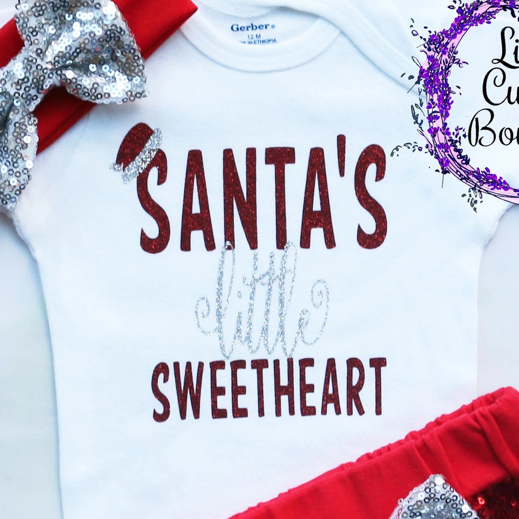 Santa's Little Sweetheart Christmas Baby Shorts Outfit