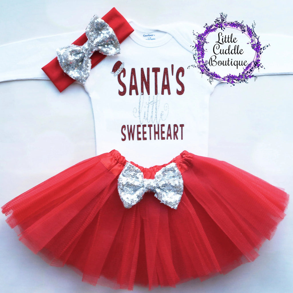 Santa's Little Sweetheart Christmas Baby Outfit