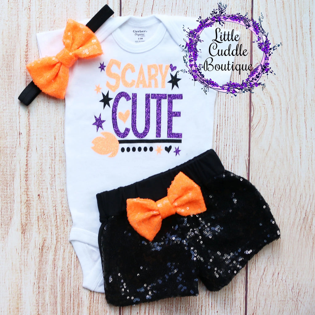Scary Cute Halloween Baby Shorts Outfit