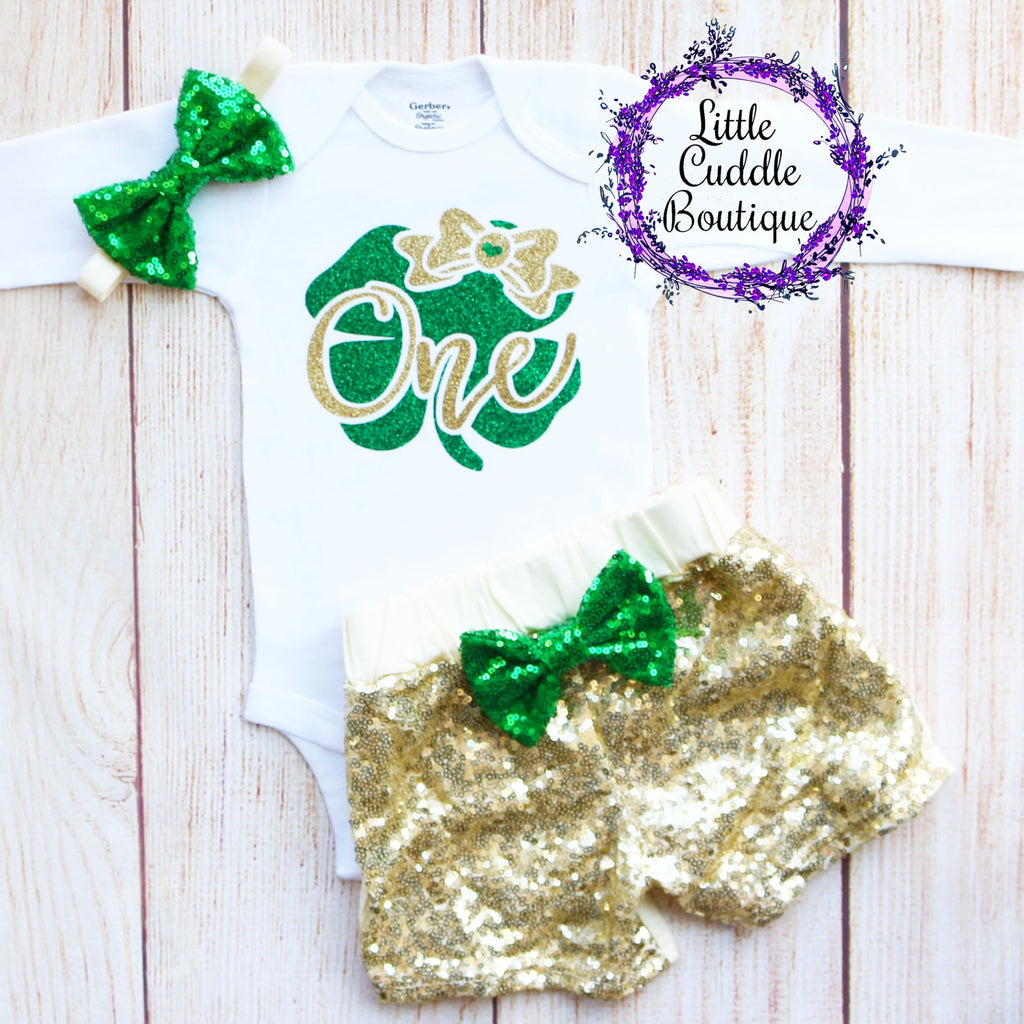 St. Patrick's Day First Birthday Shorts Outfit