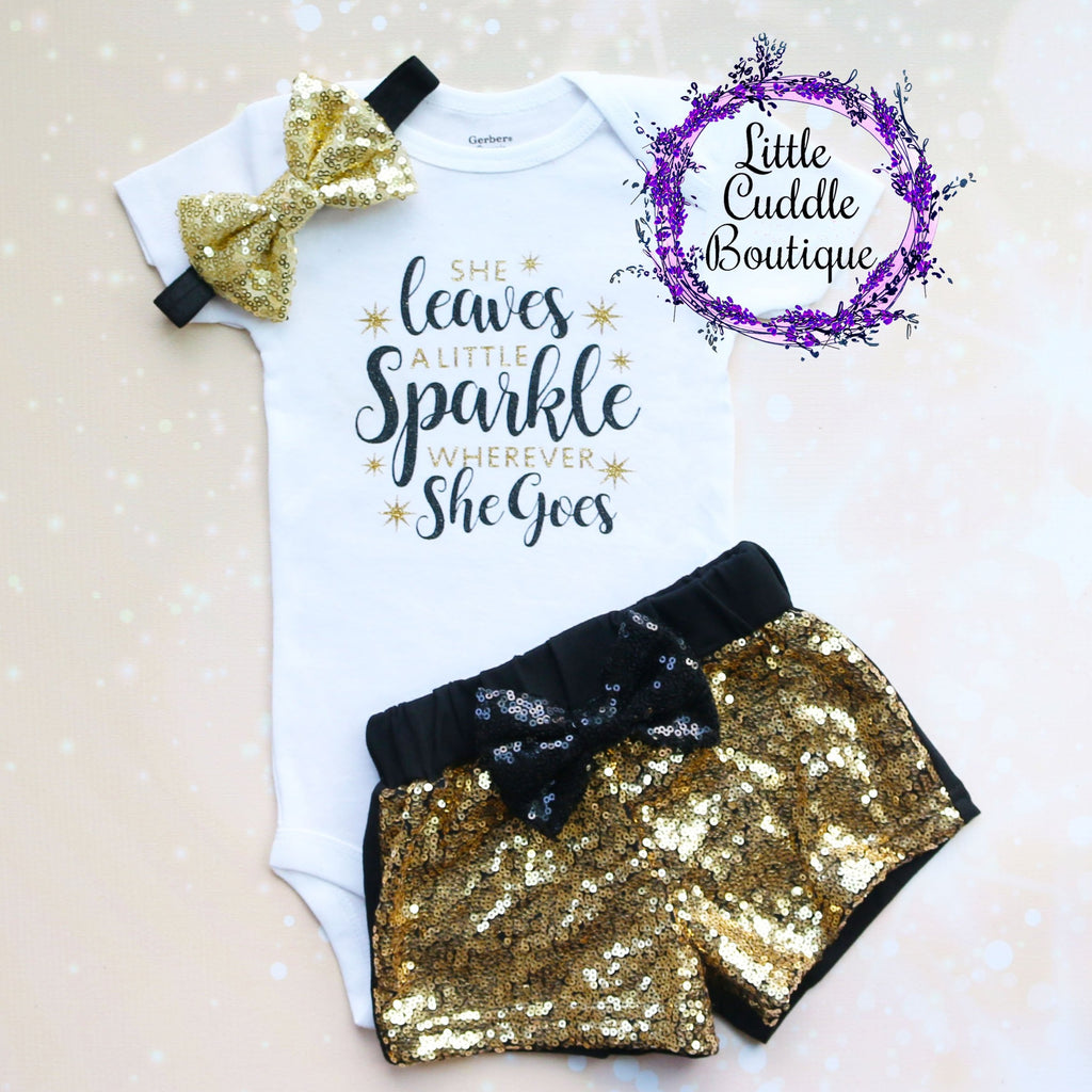 She Leaves A Little Sparkle Wherever She Goes Baby Shorts Outfit