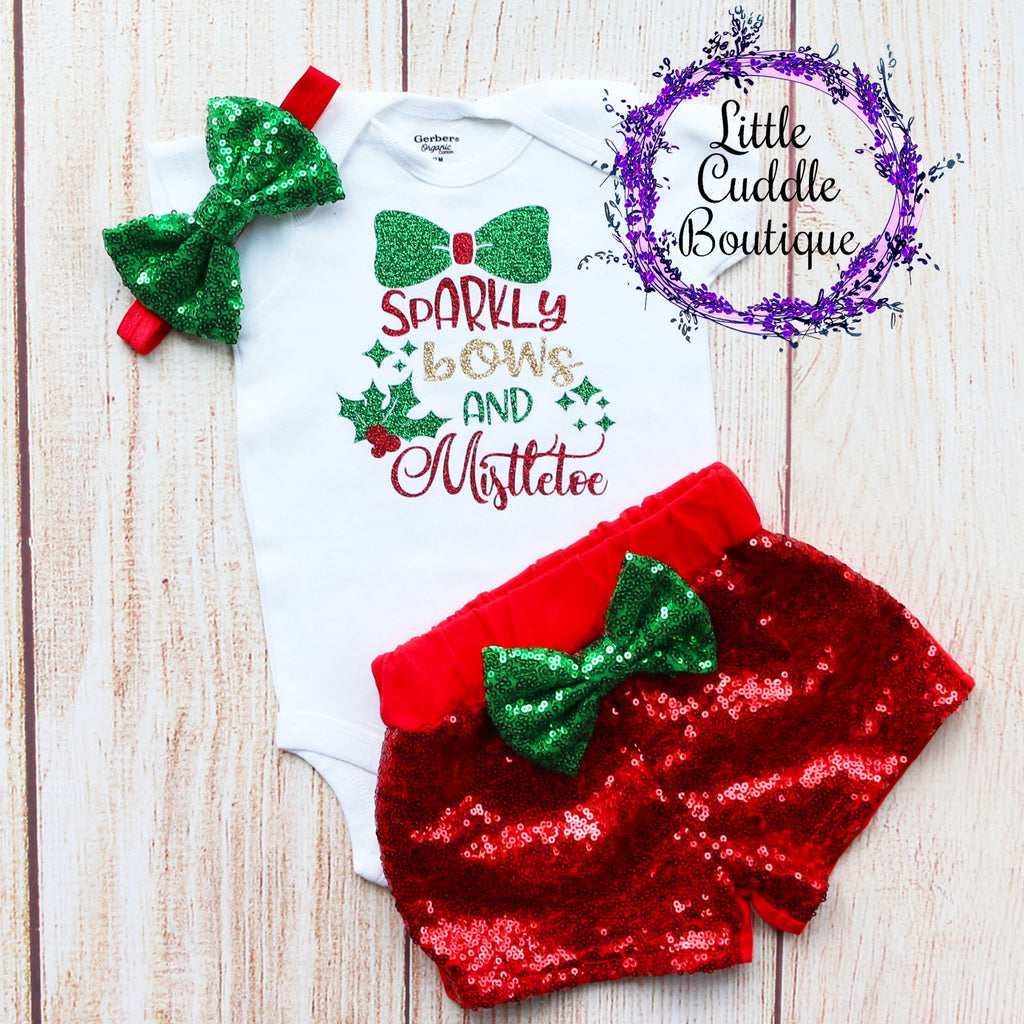 Sparkly Bows And Mistletoe Baby Shorts Outfit