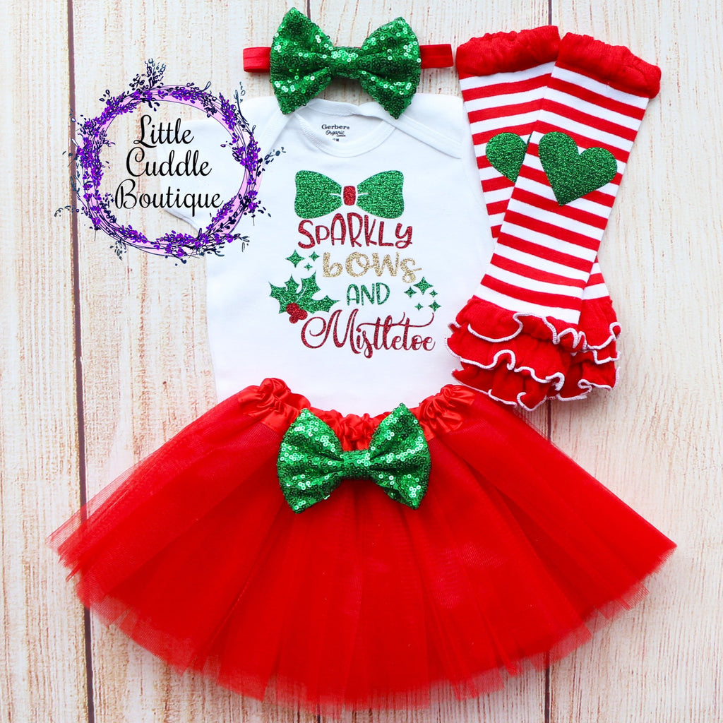 Sparkly Bows And Mistletoe Baby Tutu Outfit