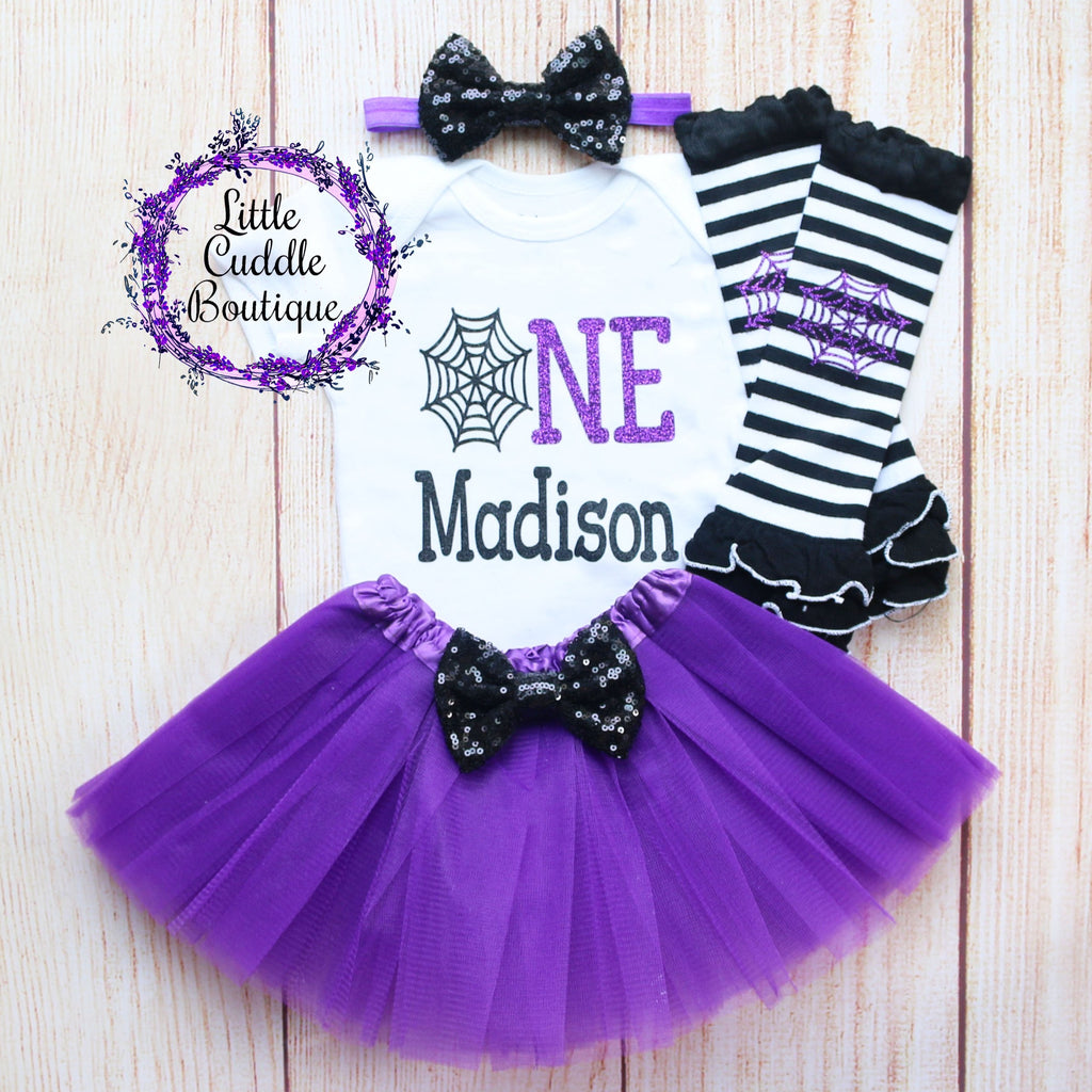 Personalized Spider Web Birthday Tutu Outfit