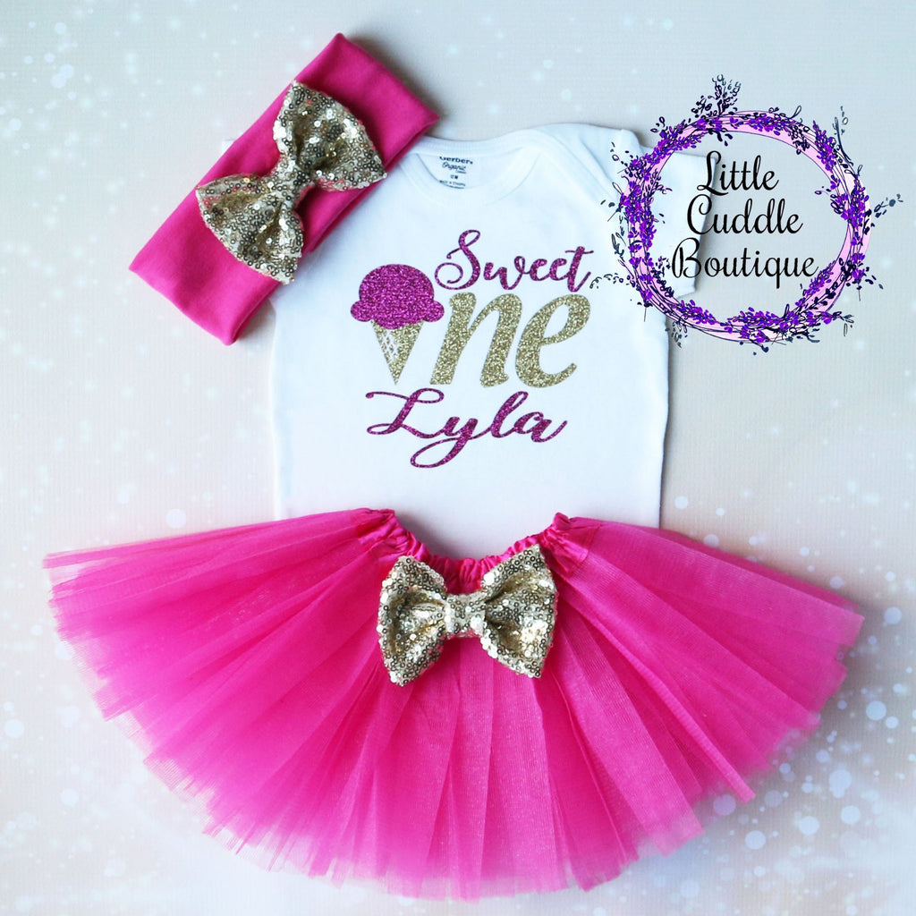 Personalized Sweet One Ice Cream Birthday Tutu Outfit