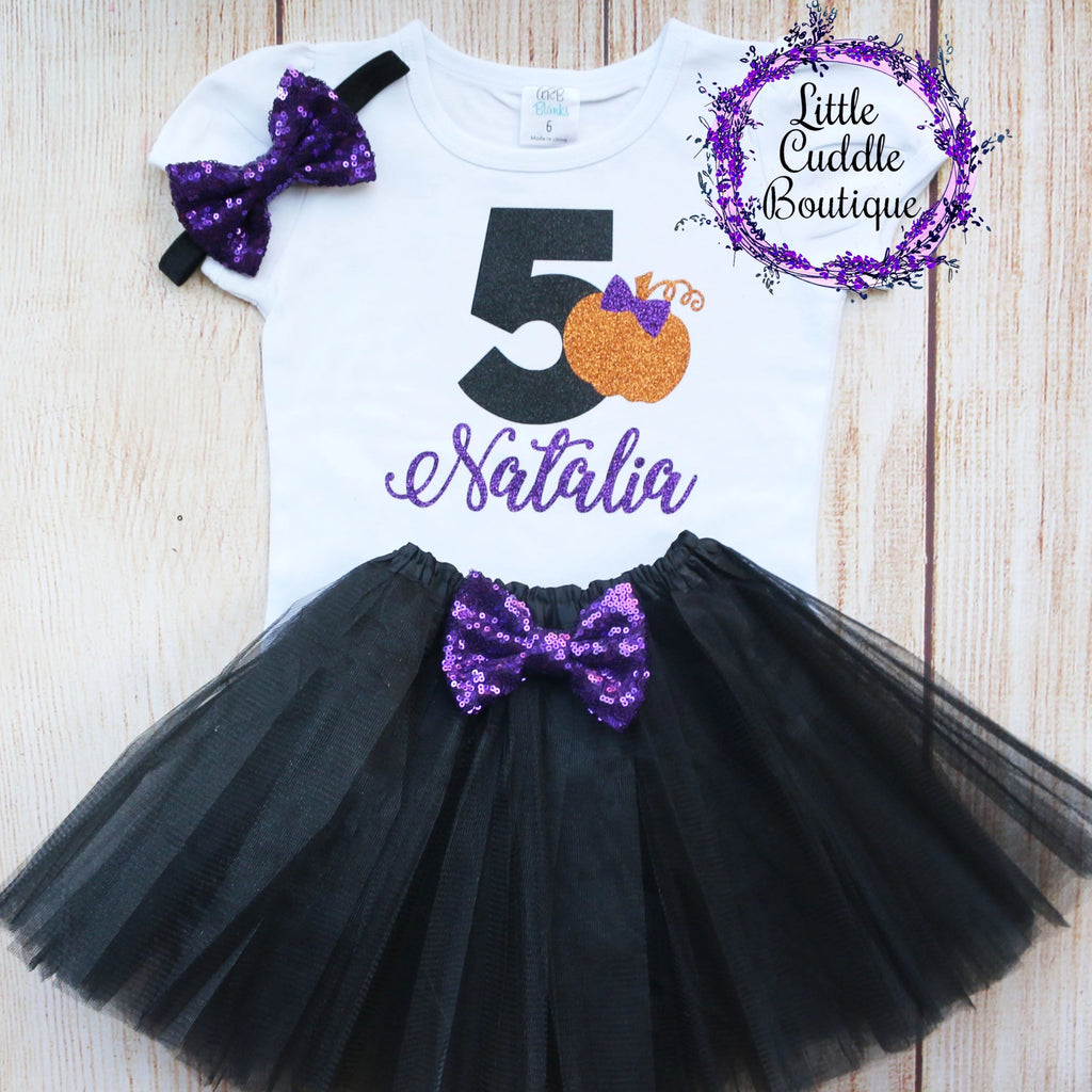 Personalized Toddler Halloween Birthday Tutu Outfit