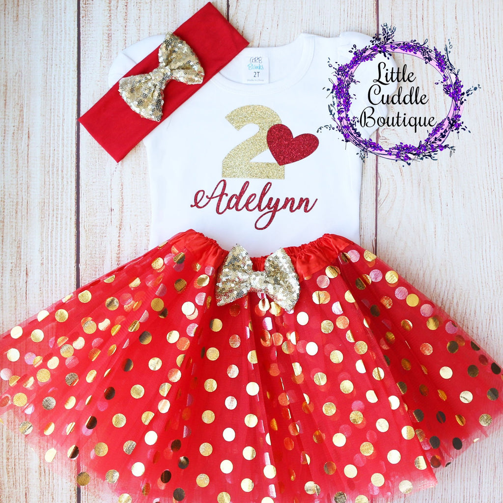 Personalized Valentine's Day Toddler Birthday Tutu Outfit