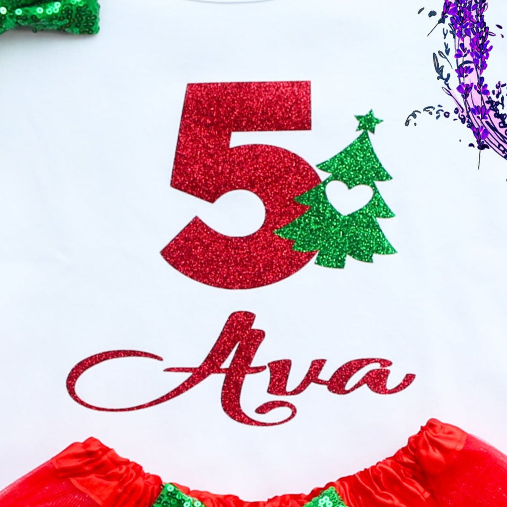 Personalized Toddler Christmas Birthday Tutu Outfit