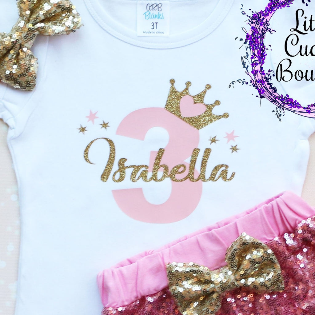 Personalized Toddler Princess Birthday Shorts Outfit-Any Age