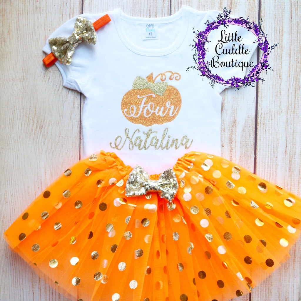 Personalized Toddler Pumpkin Birthday Tutu Outfit (Any Age)