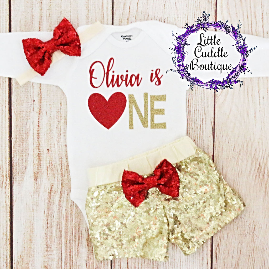 Valentine's Day First Birthday Baby Shorts Outfit