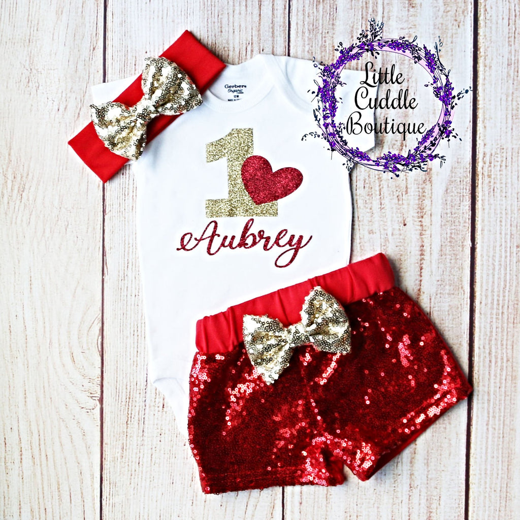 Valentine's Day First Birthday Shorts Outfit