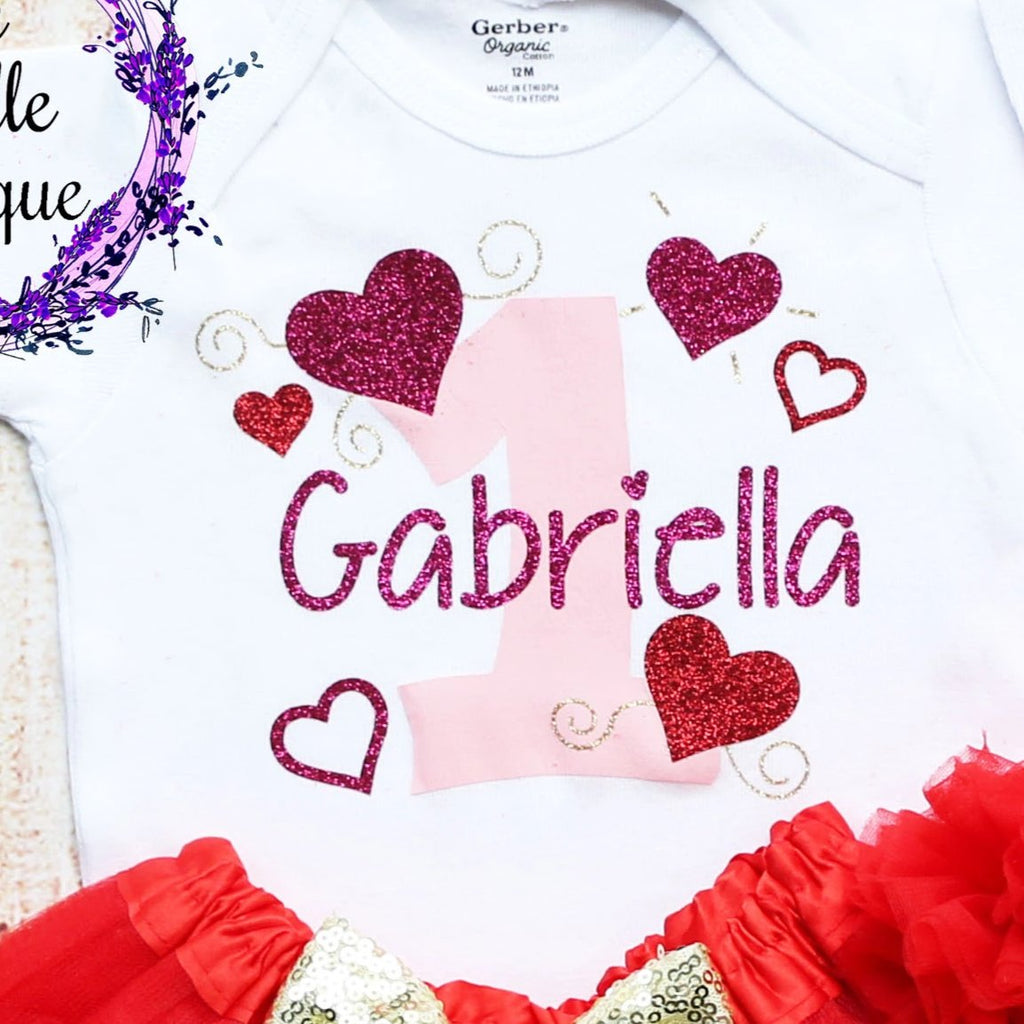 Personalized Valentine's Day 1st Birthday Girl Outfit
