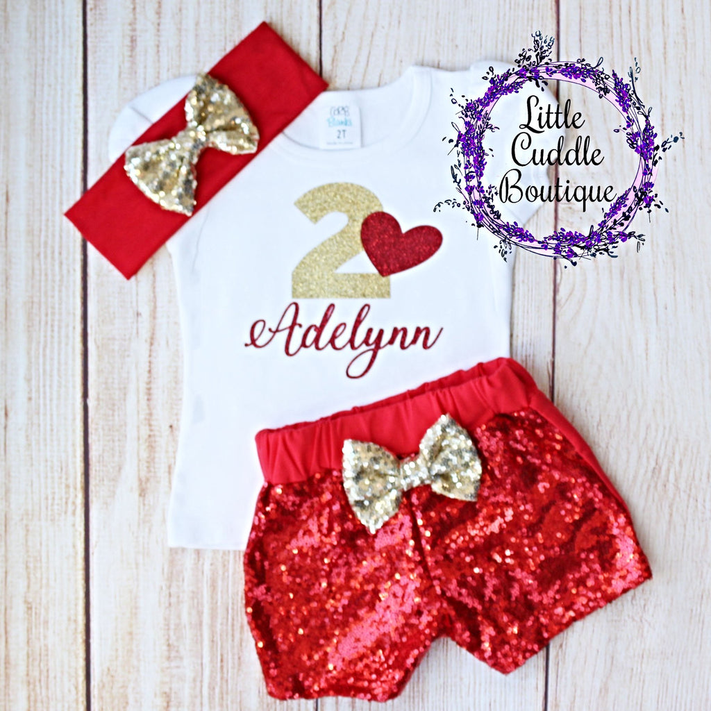 Personalized Valentine's Day Toddler Birthday Shorts Outfit