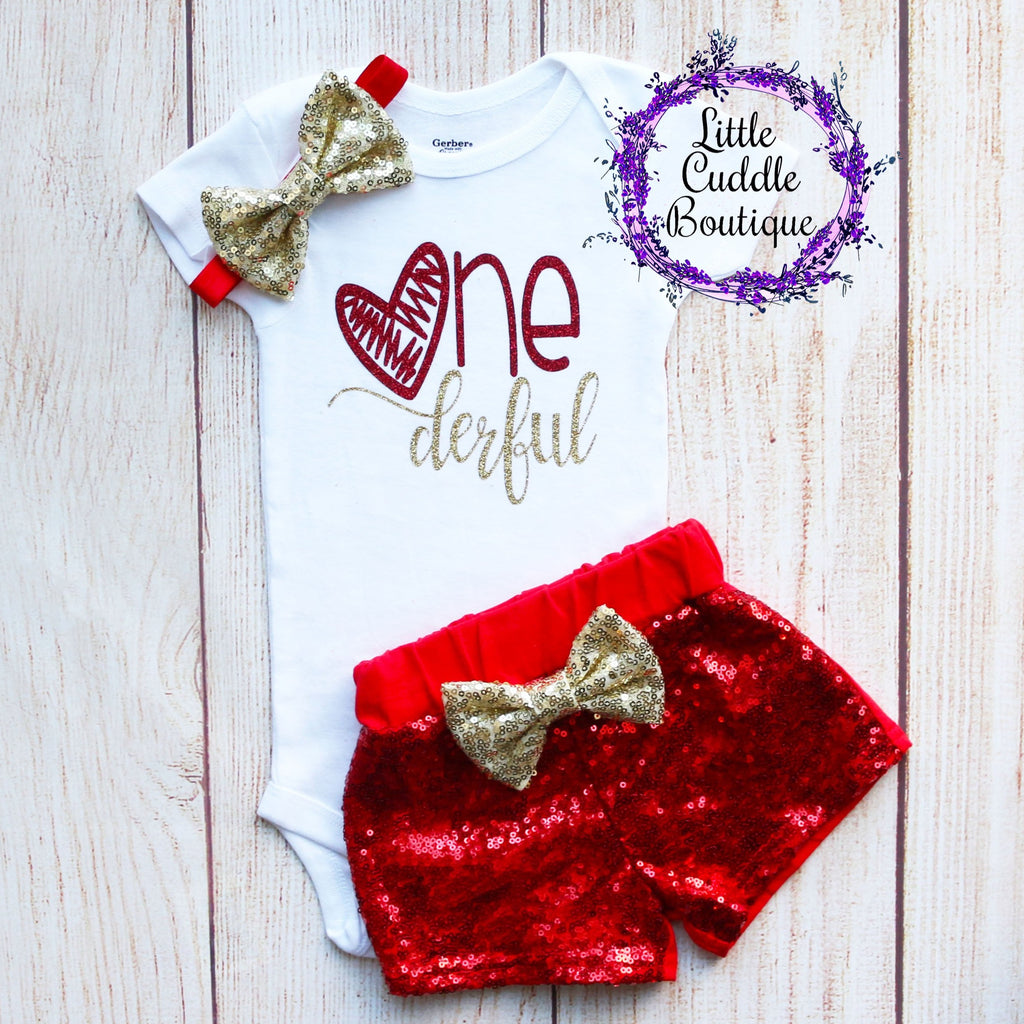 Valentine's Day Birthday Baby Shorts Outfit